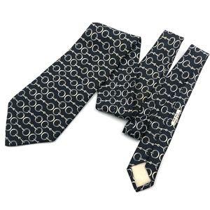 Hermes Paris Men Ties Black Chain Silk Necktie